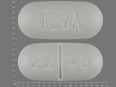 22 40 TEVA: (0093-2240) Cephalexin 500 mg Oral Tablet by Teva Pharmaceuticals USA Inc