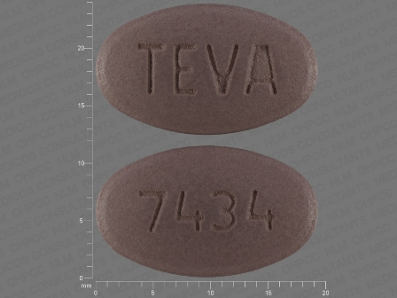 7434 TEVA: (0093-7434) Valsartan 320 mg Oral Tablet, Film Coated by Teva Pharmaceuticals USA Inc