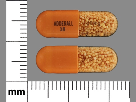 ADDERALL XR 30 mg: (54092-391) Adderall XR 30 mg 24 Hr Extended Release Capsule by Shire Us Manufacturing Inc.